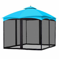 2-Tier Canopy Top with Mesh Sidewall UV Protection Outdoor Patio Garden