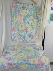 2 Vintage Croscill Standard Pillow Shams Floral Watercolor Pastel Padded Quilted