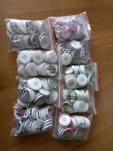 180 x large patterned white wood round 30mm buttons crafts sewing joblot