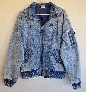 Original 80s 90s Vintage Nike Force Basketball Acid Wash Denim Jacket XL Rare