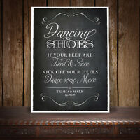 DANCING SHOES WEDDING SIGN PERSONALISED VINTAGE CHALKBOARD STYLE - A