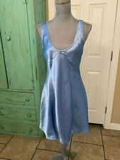 SATIN AND BEAUX, BLUE SATIN LIKE SHORT NIGHT GOWN, SIZE SMALL