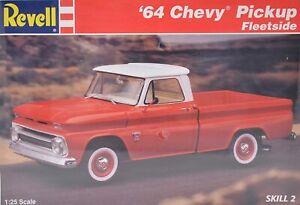 Revell 1:25 1964 Chevy Fleetside Pickup Red Model Kit #7613 Open Box