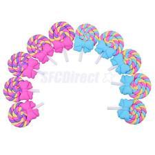 10 Kawaii Lolly Swirl Lollipop Clay Flatback Candy Cabochon Embellishemnts Craft