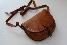 Patricia Nash  Vintage Distressed leather Flap Hobo Saddle Crossbody  Bag(brow