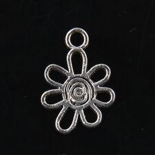 30pcs Tibetan Silver Flower Pendants Charms for Jewelry Making 17mm J174P