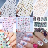 2Sheets/Set Nail Art 3D Sticker + Water Decals Transfer Stickers Manicure Decors