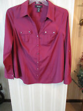 Womens EUC Style & Co X Maroon Stretch Long Sleeve Blouse