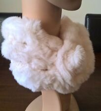 white genuine real rabbit fur pom pom scarf neck warmer collar shawl stole
