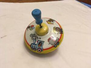 Vintage Ohio Art Toy Tin Metal Top Circus Animal Train Wooden Knob Spin Works