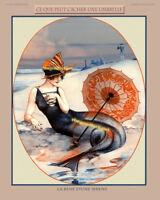 MERMAID WITH UMBRELLA risqué siren La Vie Parisienne 8x10 Herouard Art print