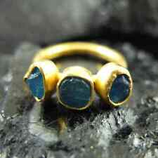 Handmade Hammered Rough Neon Apatite Ring 22K Gold over Sterling Silver