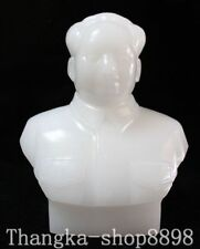 China Collector White Jade Carving Great Leader Mao Zedong Chairman Bust Statue