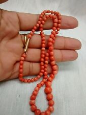Pretty vintage antique English graduated Salmon coral 9K clasp necklace