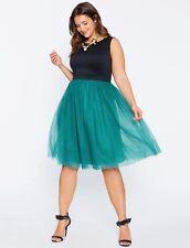 NWT ELOQUII (2X) Womens Black Green Sleeveless Tank Tulle Cocktail Knee Dress 20