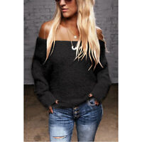 Loose Ladies's Off The Shoulder Fluffy Sweater Long Sleeve Jumper Pullover Tops
