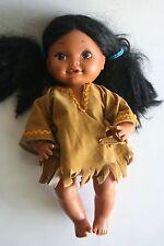 Beautiful All Plastic, Poseable Indian Doll/Buckskin Dress - Made in Hong Kong