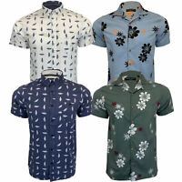 Mens Floral Cotton Shirt Brave Soul Flowers Leaf Printed Short Sleeved Beach New