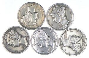 (5) AU/Unc 1943 1942-S 1942-D 1944-S 1941 Mercury Silver Dimes Collection *112