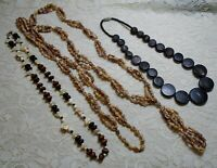 VINTAGE TO NOW ASSORTED WOOD SEED & SHELL BOHO BEACH NECKLACE LOT