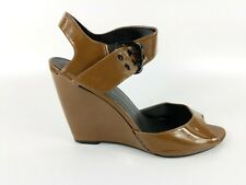 Faith Brown Patent Leather Wedge Heel Sandals Uk 6