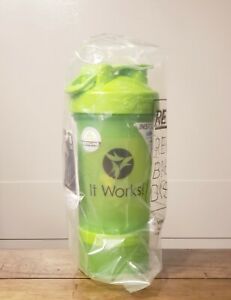 IT WORKS Shaker Blender Bottle ProStak Pro System 16 oz + Pill Tray + 100cc Jar