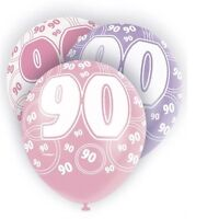 Pink Glitz 90th Birthday Age 90 Pack 6 Latex Party Balloons Suit Air Or Helium