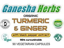 100% PURE ORGANIC TURMERIC & GINGER  with BLACK PEPPER EXTRACT 90 CAPSULES