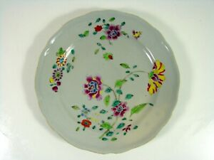 Antique Chinese Export Famille Rose Porcelain Plate 18th C Flowers Decoration