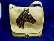NEW vtg Burlap Handbag Horse Head w Chain Wood Fastener KY Derby City Handmade