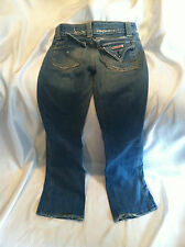 PRE-OWNED HUDSON TRIANGLE FLAP POCKET FADED BOOT CUT  JEANS~27 X 30 COTTON BLEND