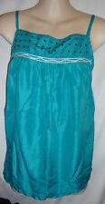 BCBGirls 100% Silk Aqua Spaghetti strap studded blouse fashion tank top Medium M