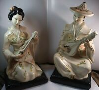 ALEXANDER BACKER CHALKWARE VINTAGE ASIAN COUPLE WITH INSTRUMENT