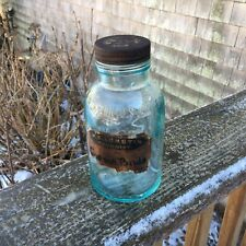 Vintage Apothecary Pharmacy Glass Bottle With Tin Cover & Old Label