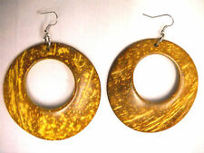 NEW LARGE YELLOW BROWN COLOR COCONUT WOOD DANGLING ROUND HOOP FASHION EARRINGS