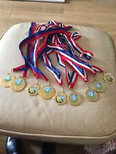 9 X Gold Golf Medals (assorted)