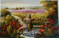"Garden View Hand Painted High Quality Oil Painting on Canvas 24""x 36"""
