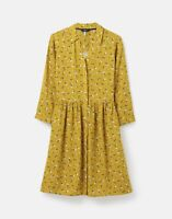 Joules Womens 215647 Concealed Placket Shirt Dress - Gold Floral