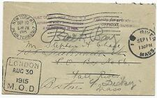 Ship Cover 1915 Money Order Penalty Envelope London to NY FWD