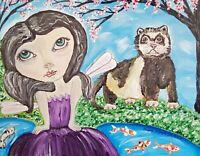Cherry Blossom Faery Art Card 2.5 X 3.5 Artist KSams Ferret Koi Pond Fairy Goth