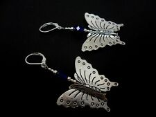 A PAIR OF BIG DANGLY BLUE CRYSTAL BEAD BUTTERFLY LEVERBACK HOOK EARRINGS. NEW.