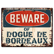 Ppdg0092 Beware of Dogue De Bordeaux Plate Rustic Tin Chic Sign Decor Gift