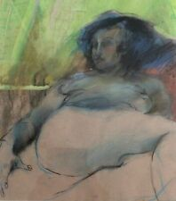 NITZA FLANTZ (1936-), Pastel on Paper , Nude at Bed, Signed