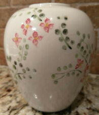 Shabby Chic Signed White Vase Sprinkled with Hand-Painted Pink Flowers & Leaves