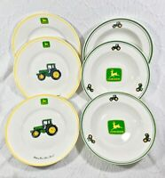6 Gibson John Deere Tractor 3 Salad Plates Yellow & 3 Rimmed Soup Bowls Green