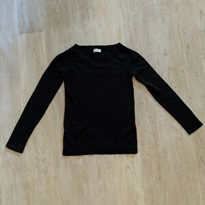 Valentino Black Cashmere Wool Sweater Boat Neck Top Long Sleeves T Shirt Winter