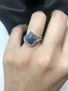 925 sterling silver Flower Ring With Lapis Lazuli