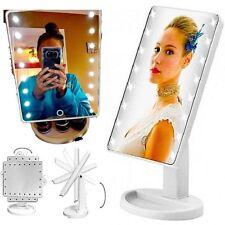 Specchio trucco illuminato con LED vano oggetti cosmetici touch batteria rotante
