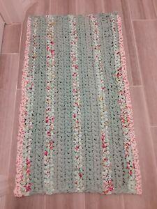 Handmade Crochet Fabric Area Rag Rug Soft Door Mat Light Green Floral 35 X 20