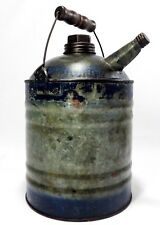 EARLY 20TH C VINT NESCO TIN KEROSENE BLUE/SILVER CAN, W/WIRE HANDLE/WOOD GRASP
